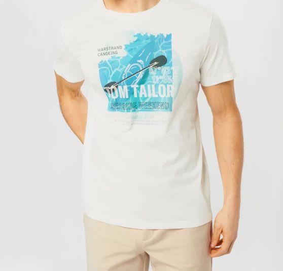 Tom Tailor T Shirt mit türkisem Sommer Motiv für 6€ (statt 11€)   L, XL, XXL