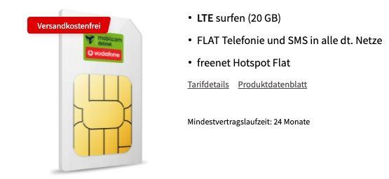 Vodafone Allnet Flat mit 20GB LTE für 36,99€ mtl. + 600€ Geschenk Coupon oder 40GB für 46,99€ mtl. + 650€ Geschenk Coupon
