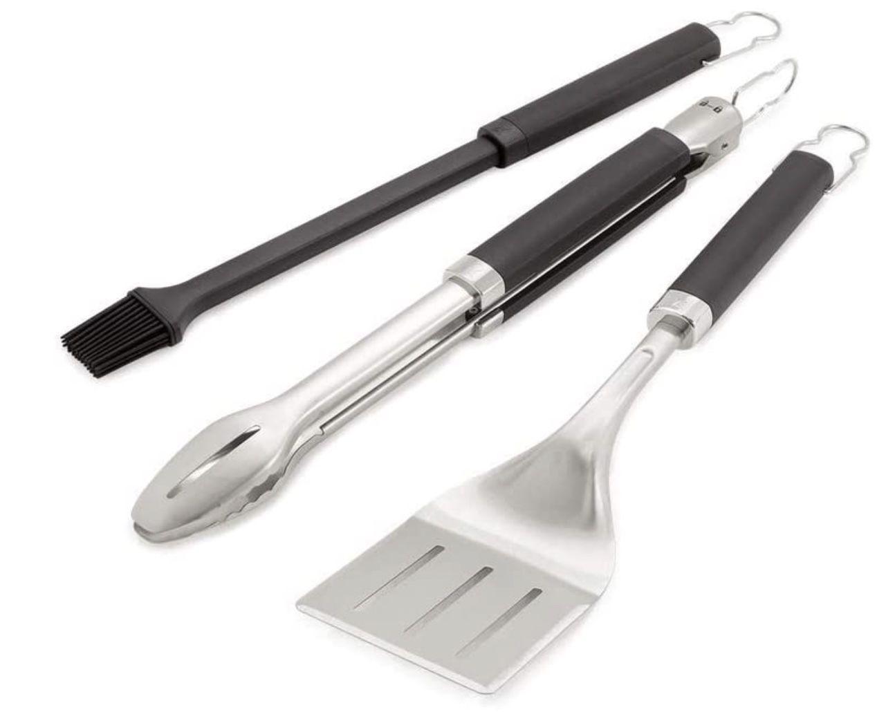 Weber Precision Premium Grillbesteck 3 teilig in Schwarz/Silber für 29,83€ (statt 53€)