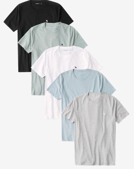 5er Pack Abercrombie & Fitch Rundhals Shirts für 59,90€(statt 75€)