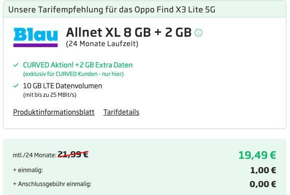 Oppo Find X3 lite 128GB + Oppo Enco X für 1€ + o2 Allnet Flat von Blau mit 10GB LTE für 19,49€mtl.