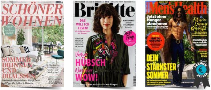 Zeitschriften Abos mit höherer Prämie als Kosten   z.B. 27x Brigitte für 84,92€ + Prämie bis 90€ Gutschein