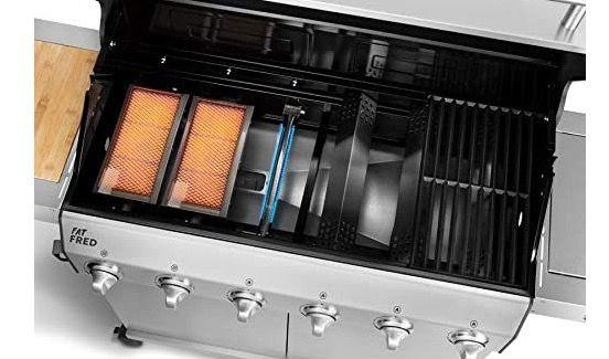 Burnhard 6 Brenner Gasgrill Fat FRED inkl. Infrarot Keramikbrenner und Gusseisen Grillrost für 799€ (statt 949€)