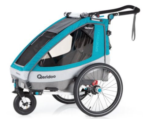 Qeridoo Kinderfahrradanhänger Sportrex1 (Modell 2020) in Petrol für 309,39€ (statt 369€)