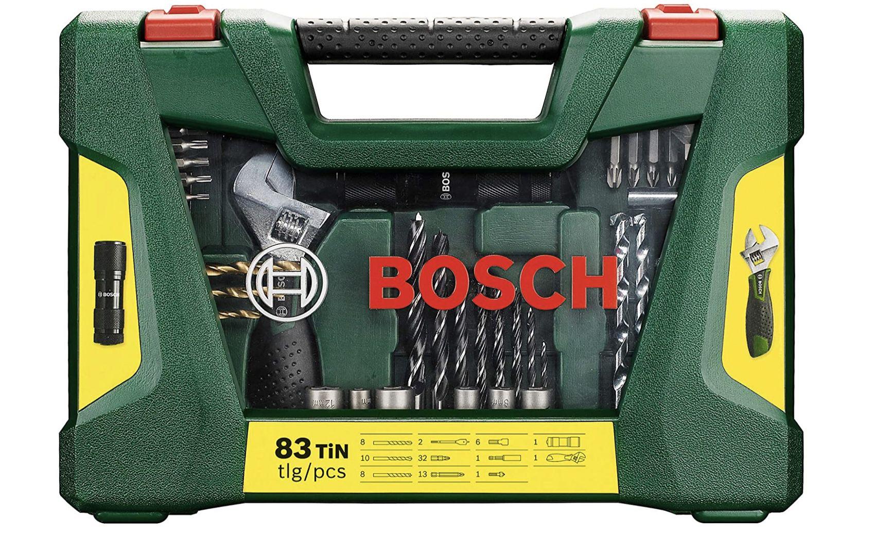 Bosch 83tlg. V Line Titanium Bohrer  und Bit Set mit LED Taschenlampe und Rollgabelschlüssel für 26,99€ (statt 33€)
