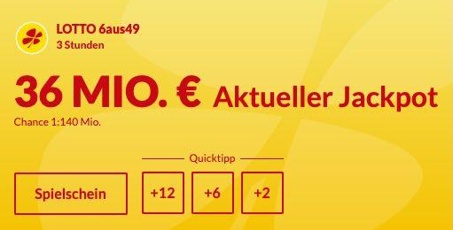 36 Mio. Jackpot: 12 Felder Lotto 6 aus 49 für nur 10€   Neukunden