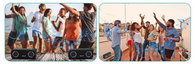 SCIJOY Bluetooth Lautsprecher IPX7 mit LED Licht 30W und 30h Akku für 29,89€ (statt 46€)
