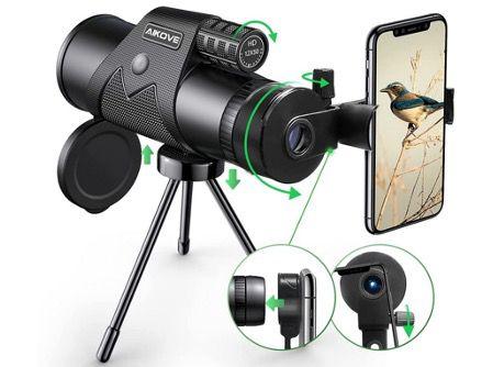 Aikove Monokular Starscope 12x50 mit HD Zoom inkl. Smartphone Halter und Stativ für 21,97€ (statt 40€)