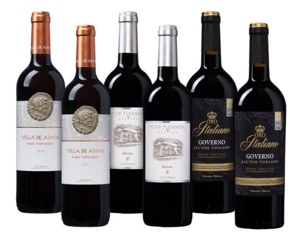6 Flaschen Rotwein Bestseller Paket für 37,49€ inkl. Versand