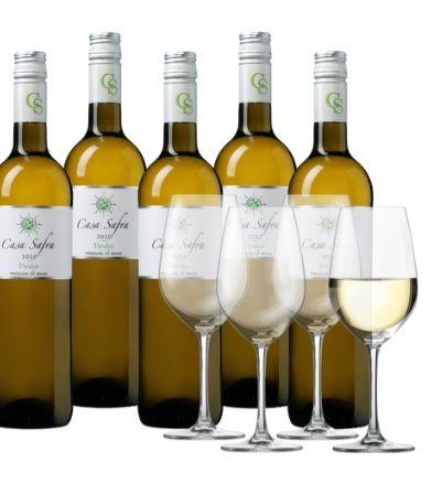 8 Flaschen Casa Safra Verdejo Weißwein + 4 Gläser für 44,99€