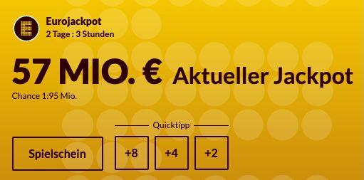 57 Mio. Jackpot: 2 Eurojackpot Felder für nur 1€   Neukunden
