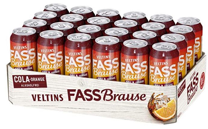 24er Tray Veltins Fassbrause Cola Orange alkoholfrei Biermischgetränk ab 16€ inkl. 6€ Pfand