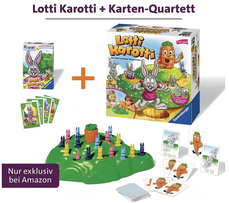 Ravensburger 20851  Lotti Karotti Gesellschaftsspiel + Quartett Kartenspiel für 16,99€ (statt 22€)   Prime