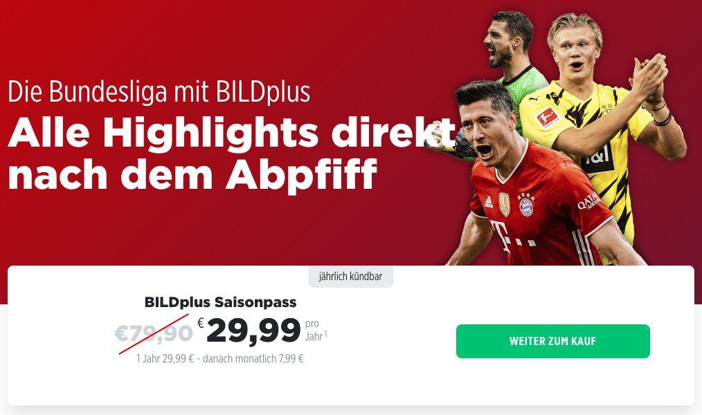 1 Jahr BILDplus inkl. Bundesliga Saisonpass für 29,90€ (statt 80€)