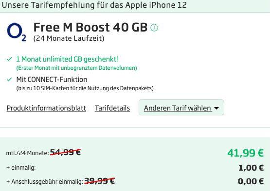 Apple iPhone 12 mit 64GB für 1€ + o2 Allnet Flat mit 40GB LTE/5G für 41,99€ mtl.   1. Monat unlimited LTE/5G!