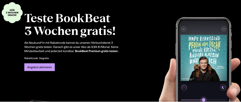 Gratis! BookBeat Hörbuch Service 3 Wochen kostenlos ausprobieren