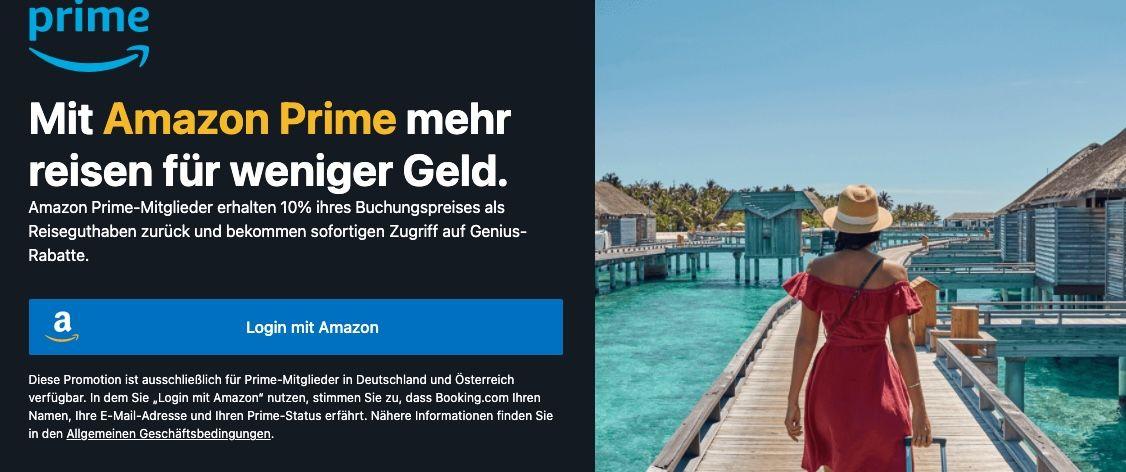 Mit Amazon Prime bei Booking.com anmelden   direkt Genius Status + 10% Reise Cashback