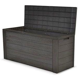 dynamic24 Auflagenbox Woody in Holzoptik grau für 34,99€ (statt 40€)