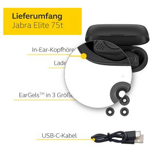 JABRA Elite 75t Bluetooth Headset mit ANC für 89,99€ (statt neu 134€)  refurb.