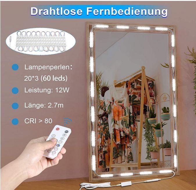 Wobsion LED Spiegelleuchte dimmbar 60 LEDs für 11,99€ (statt 20€)