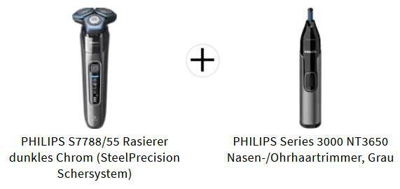 PHILIPS S7788/55 Elektrorasierer + Series 3000 NT3650 Nasenhaartrimmer für 139€ (statt 157€)