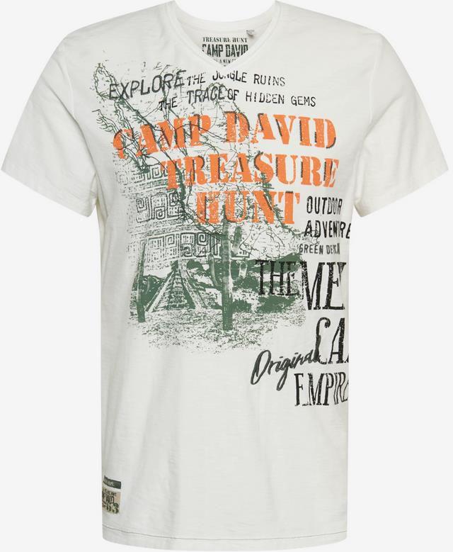 Camp David T Shirt mit V Ausschnitt in khaki für 24,43€ (statt 34€)