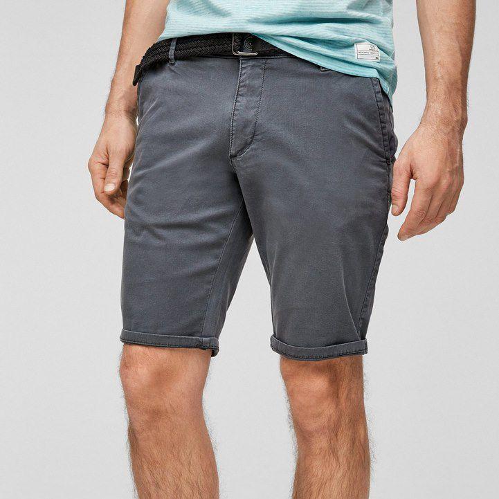 s.Oliver Q/S designed Bermuda Short mit Gürtel in Dunkelgrau für 9,60€ (statt 26€)