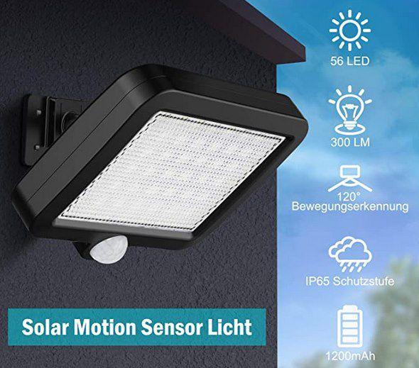 MPJ Solar Außenlampe mit 56 LEDs inkl. Bewegungsmelder für 9,44€ (statt 19€)   Prime