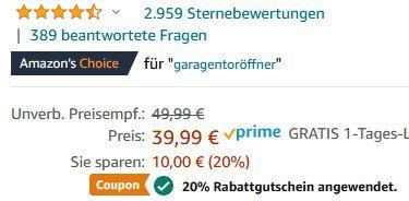 Meross MSG100 Smart WLAN Garagenöffner via App für 21,99€ (statt 40€)