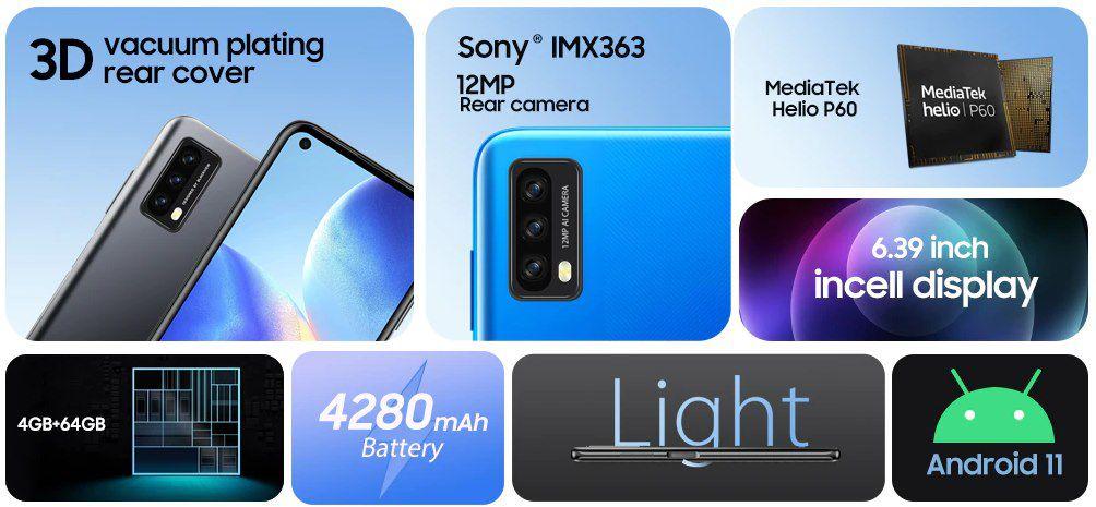 Blackview A90   6,39 Smartphone mit 4GB/64GB & Android 11 für 109,99€ (statt 150€)