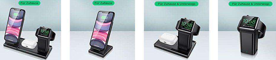 ESR 3in1 kabellose Ladestation für iPhone, AirPods & Apple Watch für 13,99€ (statt 20€)   Prime