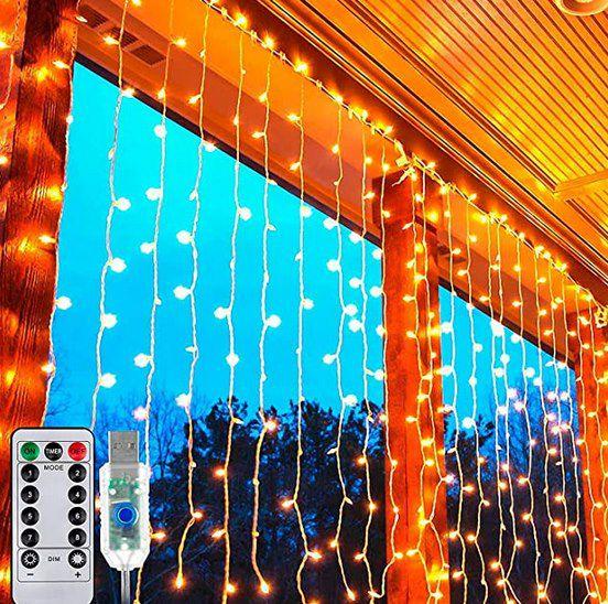 Ollny 3x3m Lichtervorhang für Außen mit 300 LEDs & 8 Modi für 11,99€ – Prime