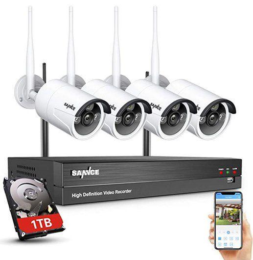 SANNCE 2MP 8CH Wireless NVR + 4x3MP WLAN Außenkameras inkl. 1TB HDD für 183,99€ (statt 210€)