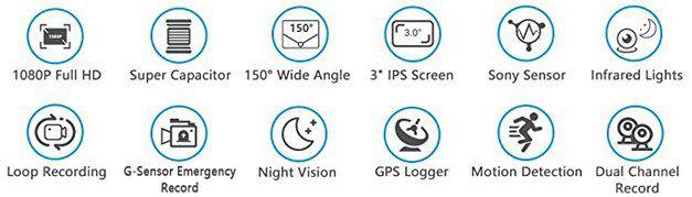 EACHPAI X100 Pro Dual 1080p Dashcam mit GPS & SD Karte für 59,99€ (statt 120€)