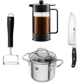Bodum Kaffeebereiter + WMF Sparschäler + Zwilling Kochtopf + BSF Messer für 50,96€ (statt 82€)