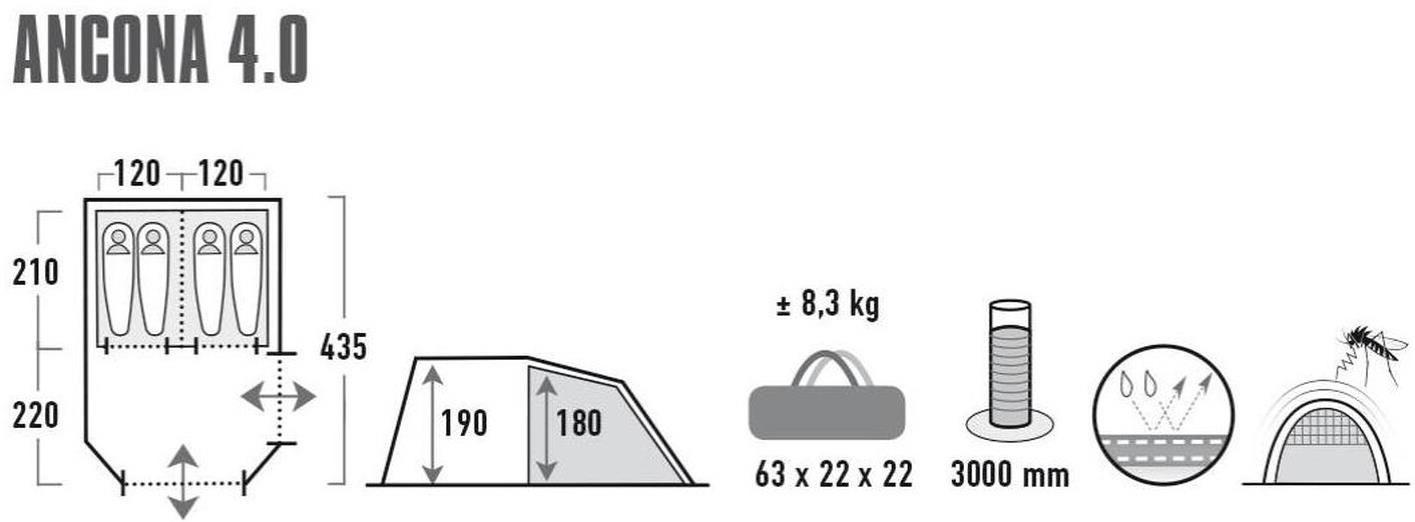 High Peak Tunnelzelt   Ancona 4.0 für 149,90€ (statt 170€)
