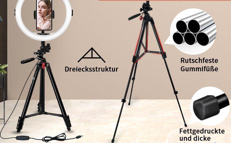 GooFoto R1 LED Ringlicht mit Stativ & Fernbedienung für 24,99€ (statt 50€)