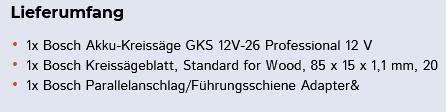 Bosch Akku Kreissäge GKS 12V 26 Professional inkl. 2x 3,0 Ah Akku + Ladegerät für 124,95€ (statt 140€)