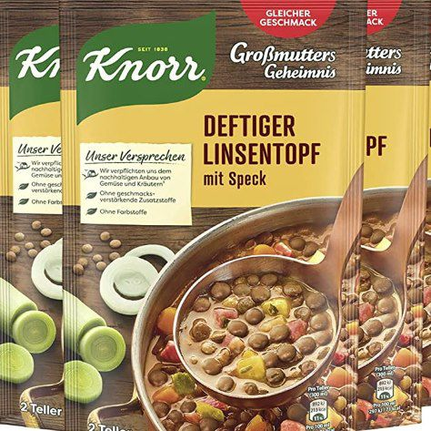 """8x Knorr Großmutters Geheimnis Eintopf """"Deftiger Linsentopf mit Speck"""" für 4,67€ – Prime Sparabo"""