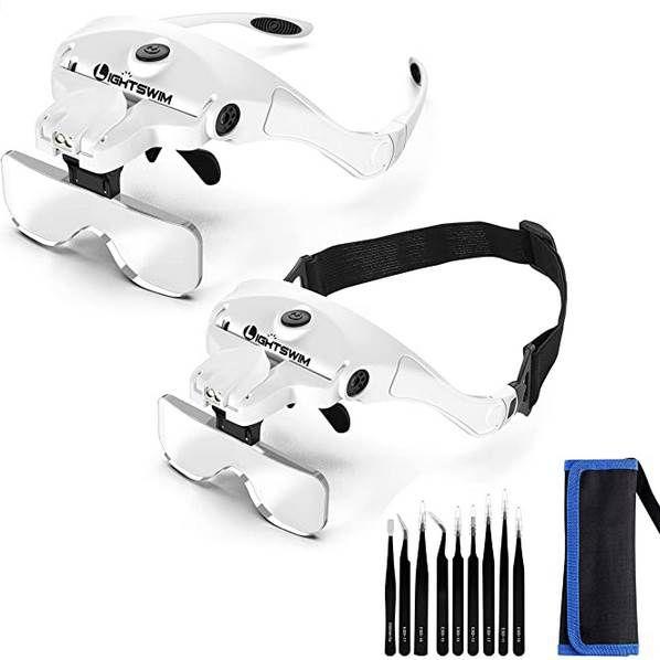 Lightswim LED Lupenbrille mit austauschbarer Halterung & Präzisionspinzetten für 14,94€ (statt 25€)   Prime