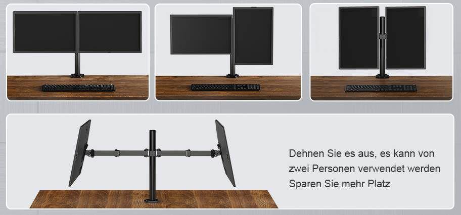 Huanuo HNCM7 Monitorhalterung für 2 Monitore bis 27 Zoll für 13,99€ (statt 35€)