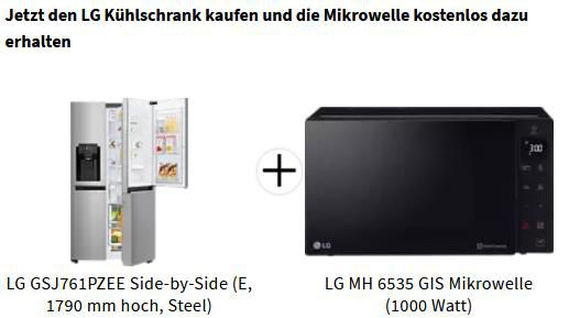 LG GSJ761PZEE Side by Side Kühlschrank + LG MH 6535 GIS Mikrowelle für 1.375€ (statt 1.427€)