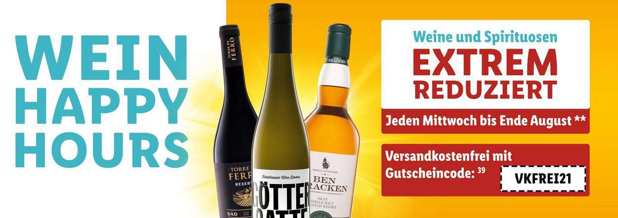 Lidl: Wein Happy Hours mit wechselnden Angeboten   z.B. Captian Morgan Spiced Gold (0,7L) für 9,99€ (statt 15€)
