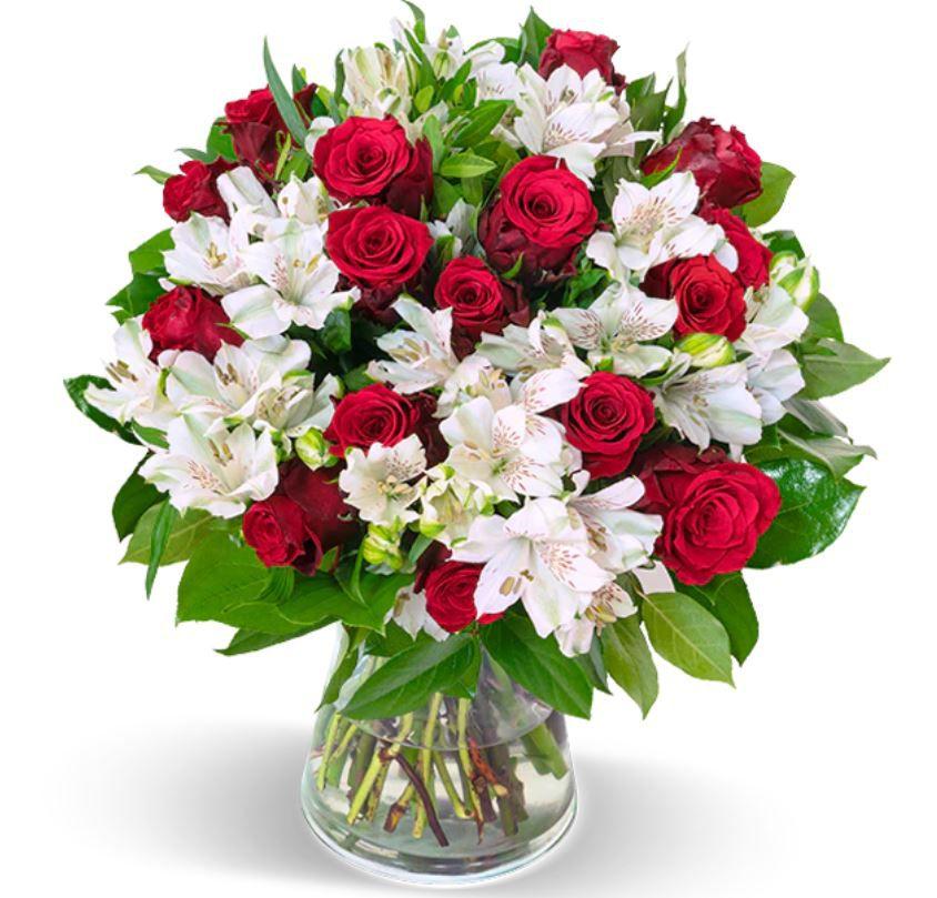 Liebesgruß mit roten Rosen u. Inkalilien bis 150 Blüten für 25,98€