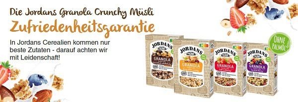 Jordans Granola Crunchy Müsli ausprobieren   bei Unzufriedenheit Geld zurück