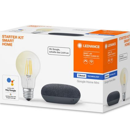 Top! LEDVANCE Starter Kit Smart Home: Google Home Mini + Filament Leuchtmittel für 19,99€ (statt 33€)
