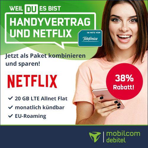 🔥 o2 Allnet Flat inkl. Netflix Standard (2 Geräte, mit Full HD) mit 20GB LTE für 26,48€ mtl.