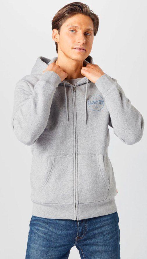 Levis Herren Sweatjacke in grau für 35,94€ (statt 47€)