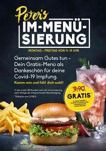 Peter Pane: Gratis Burger Menü für vollständig Covid 19 Geimpfte