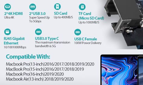 VAKO Thunderbolt 3 Docking Station für MacBook Pro mit 100W PD3.0 für 25,49€ (statt 51€)